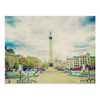 Trafalgar Square in London vintage Postcard