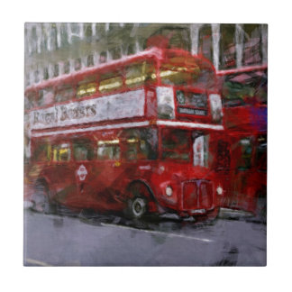 Trafalgar Square Red Double-decker Bus, London, UK Tile