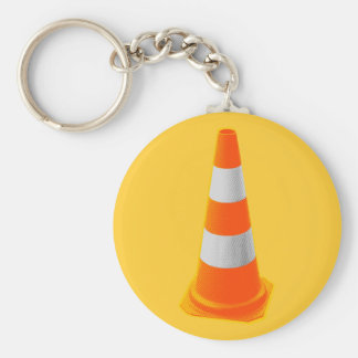 Traffic Cone with Grey Stripes Basic Round Button Keychain