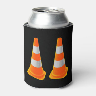 Traffic Cone with Grey Stripes Can Cooler