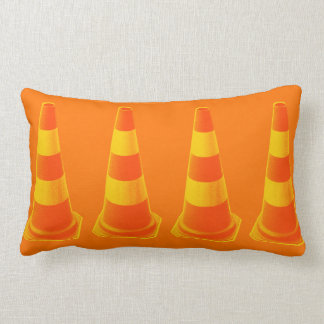 Traffic Cone with Yellow Stripes Lumbar Pillow