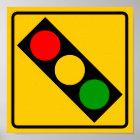 Traffic Light Ahead Highway Sign