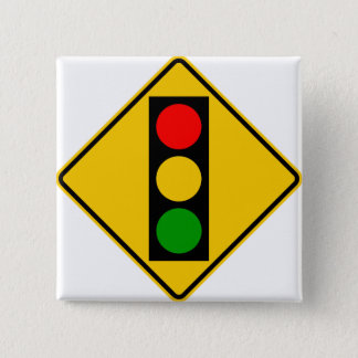 Traffic Light Ahead Highway Sign 2 Inch Square Button