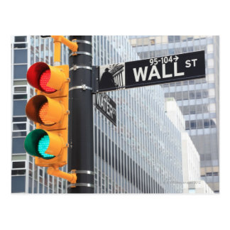 Traffic Light and Wall Street Sign Postcard