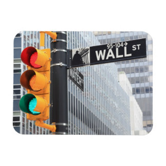 Traffic Light and Wall Street Sign Rectangular Photo Magnet