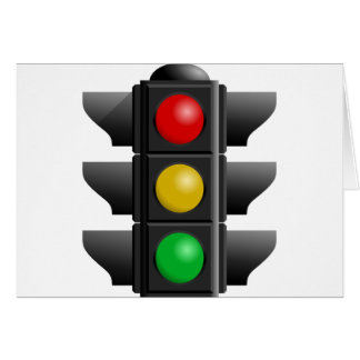 TRAFFIC LIGHTS RED YELLOW GREEN SIGNS DIRECTION CARD