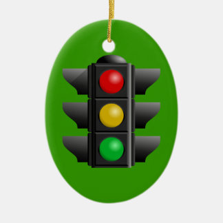 TRAFFIC LIGHTS RED YELLOW GREEN SIGNS DIRECTION CERAMIC OVAL ORNAMENT