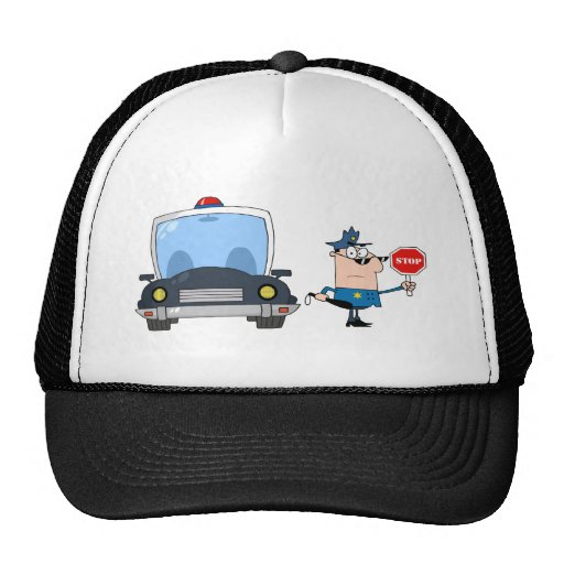 Traffic Police Officer With Car Hat
