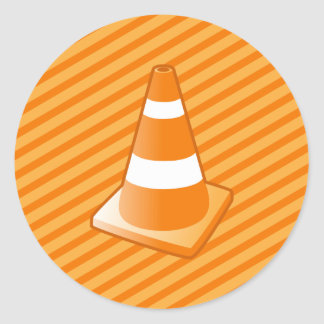 Traffic Safety Cone Classic Round Sticker