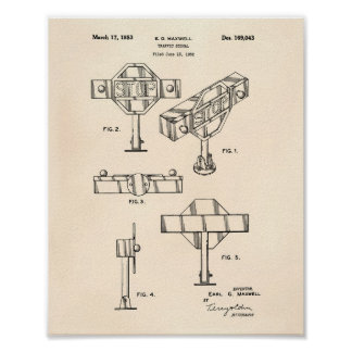 Traffic Signal 1953 Patent Art Old Peper Poster