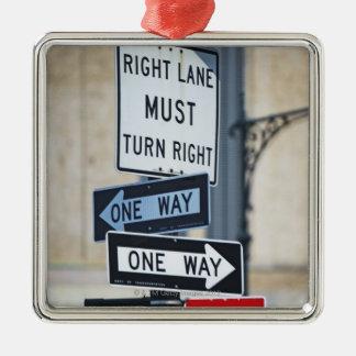 Traffic Signs Silver-Colored Square Ornament