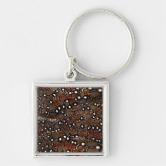 Tragopan Breast Feather Abstract Silver-Colored Square Keychain