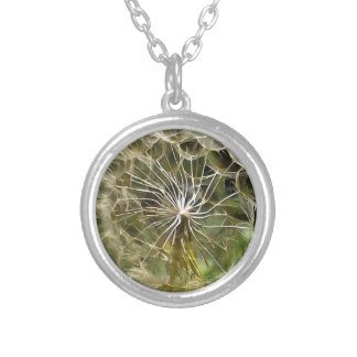 Tragopogon Flower Salsify Silver Plated Necklace