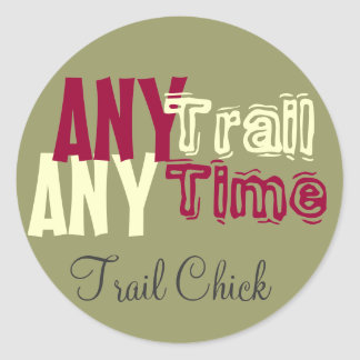 Trail chick classic round sticker
