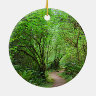 Trail in Redwood Forest Round Ceramic Ornament