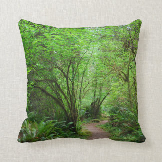 Trail in Redwood Forest Throw Pillow