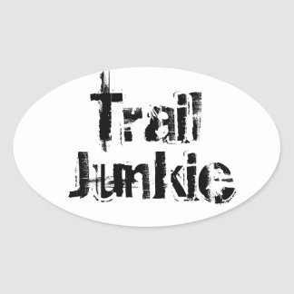 Trail Junkie Oval Decal B/W Oval Sticker