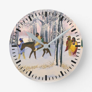 "Trail of Tears print ""Morning Tears"" on acustom cl Round Clock"