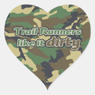 Trail Runners Like it Dirty - Camo Heart Sticker
