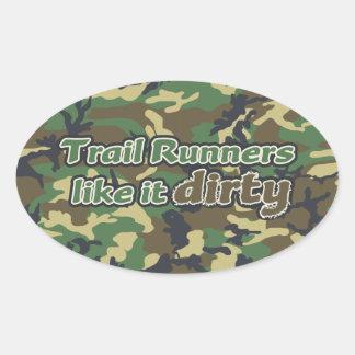 Trail Runners Like it Dirty - Camo Oval Sticker