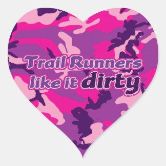 Trail Runners Like it Dirty - Pink Camo Heart Sticker