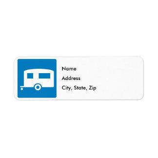 Trailer Camping Highway Sign Return Address Label