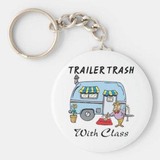 trailer park trash with class basic round button keychain