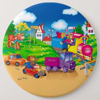 train and car 6 inch round button