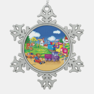 train and car snowflake pewter christmas ornament
