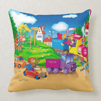 train and car throw pillow