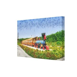 Train and Eiffel tower in Miracle Garden,Dubai Canvas Print