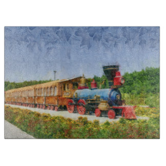 Train and Eiffel tower in Miracle Garden,Dubai Cutting Board