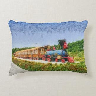 Train and Eiffel tower in Miracle Garden,Dubai Decorative Pillow