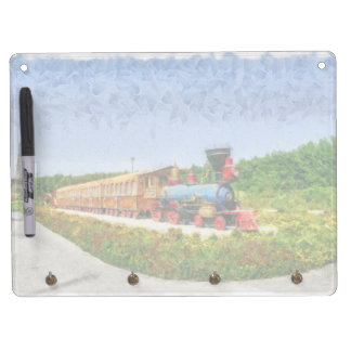 Train and Eiffel tower in Miracle Garden,Dubai Dry Erase Board With Keychain Holder