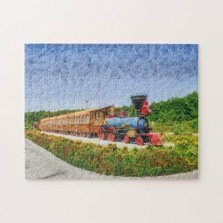 Train and Eiffel tower in Miracle Garden,Dubai Jigsaw Puzzle
