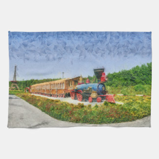 Train and Eiffel tower in Miracle Garden,Dubai Kitchen Towel