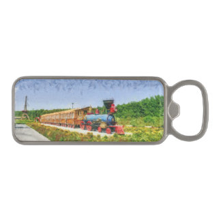 Train and Eiffel tower in Miracle Garden,Dubai Magnetic Bottle Opener