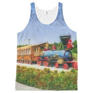 Train and Eiffel tower in Miracle Garden,Dubai pai All-Over-Print Tank Top