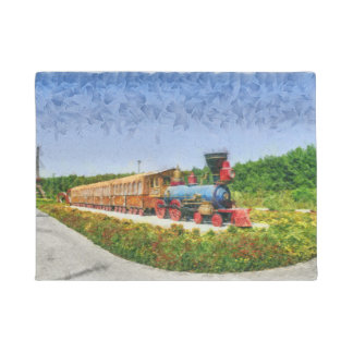 Train and Eiffel tower in Miracle Garden,Dubai pai Doormat