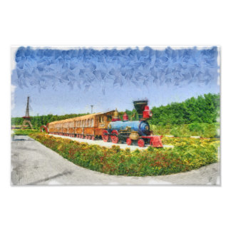 Train and Eiffel tower in Miracle Garden,Dubai Photo Print