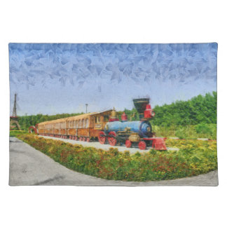 Train and Eiffel tower in Miracle Garden,Dubai Placemat