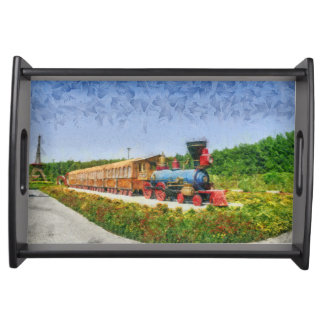 Train and Eiffel tower in Miracle Garden,Dubai Serving Tray