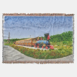 Train and Eiffel tower in Miracle Garden,Dubai Throw Blanket