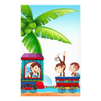 Train and monkeys customized stationery