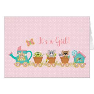 Train Animal Baby Girl Birth Announcement Card