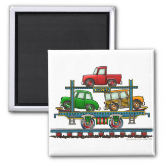 Train Auto Carrier Car Railroad Magnets