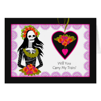 Train Bearer Invitation, Day of the Dead Wedding Greeting Card