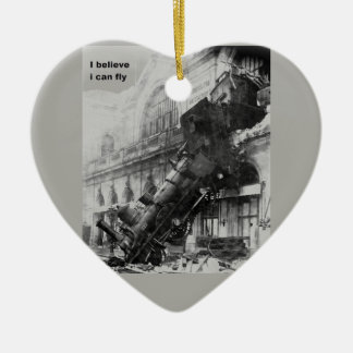 train believe it edge fly ceramic heart ornament