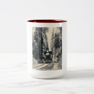 Train, Big Tree Station, Santa Cruz CA Vintage Two-Tone Coffee Mug