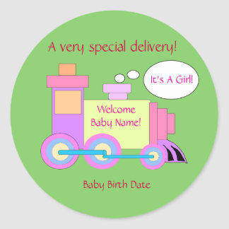Train Birth Announcement Sticker
